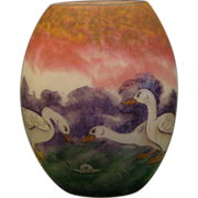 SOLD Muller Fres French cameo glass vase geese and snail