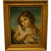SALE Antique pastel painting of young girl holding a dove