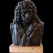SALE PENDING French bronze bust sculpture Moliere Jean Baptiste Poqueline