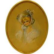 Antique oval watercolor portrait of women E A Matthews