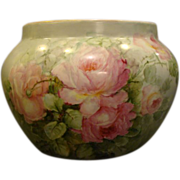 Limoges large hand painted roses jardiniere Delinieres & Co