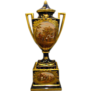 Royal Vienna cobalt blue porcelain portrait urn men horses beehive mark