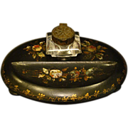 SALE Antique black lacquered papier mache mother of pearl inkwell