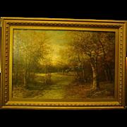 SALE Antique American woods landscape oil painting on canvas