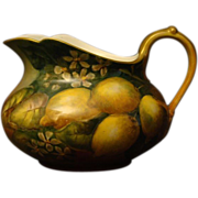 Limoges hand painted lemons lemonade pitcher William Guerin