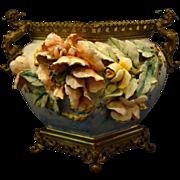 French Faience BG bronze mount jardiniere vase dragon handles