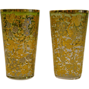 SOLD Moser pair of gilt and platinum enameled tumblers glasses