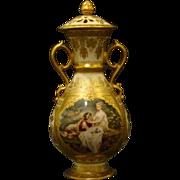 SALE Vienna Austria beehive portrait covered urn vase courting scene