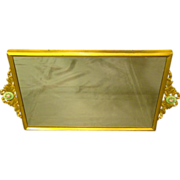 Guilloche enamel rose medallion handled dresser tray