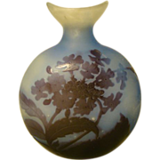 SALE Emile Galle French cameo glass pilgrim flask vase blue purple flowers