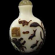 Peking cameo glass snuff bottle underwater scene crab fish bat