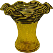 SOLD Steuben bristol yellow black threaded diamond optic large ruffled art glass vase