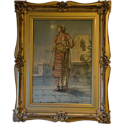 SOLD Raffaele Resio Italian listed artist watercolor painting orientalist woman