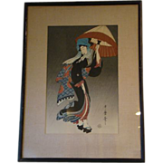 SOLD Utamaro Japanese woodblock print woman with parasol umbrella - Red Tag Sale Item