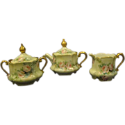 Hand painted roses porcelain tea set service teapot creamer sugar GORGEOUS