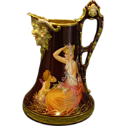 Vienna beehive hand painted porcelain ewer woman and winged cupid