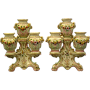 German porcelain pair unusual floral tiered candelabras candlesticks