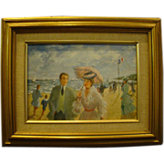French impressionist beach scene oil painting artist signed Lisey