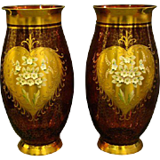 SOLD Bohemian art glass large pair cranberry thickly enameled gilt floral vases