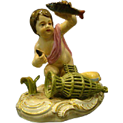 Meissen antique porcelain figurine young boy catching fish