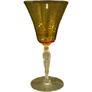 Seneca glass rare shy nude figural woman water goblet stems