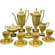 Belleek hand painted roses 18 piece coffee service two pots creamer sugar cups saucers artist