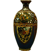 Antique cloisonne goldstone vase phoenix birds and dragons