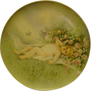 T&V Limoges hand painted porcelain plaque charger cupid in flower field roses artist signed ..