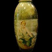 American Belleek huge hand painted porcelain vase women bird roses STUNNING