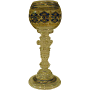 Fritz Heckert Bohemian Czech tall art glass goblet applied prunts