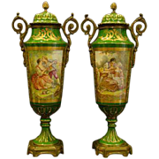 Sevres porcelain hand painted pair portrait courting scene urns vases artist signed