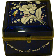 Antique cobalt blue enameled bird and flowers hinged dresser box late 1800's