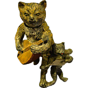 Antique miniature cold painted cat nodder sculpture