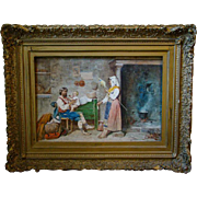 Antique Riccardi Italian watercolor interior scene family with baby