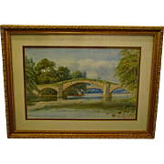 F Cainthorne artist signed watercolor bridge and trees