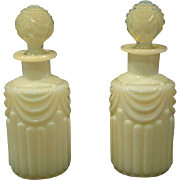 SALE PENDING French white opaline glass pair of dresser bottles colognes ribs and drapes