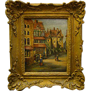 Noel signed antique impressionist street village scene oil painting