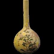 Japanese sharkskin coralene porcelain floral vase