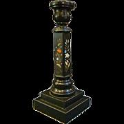 Antique pietra dura tall candlestick