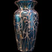 Durand blue iridescent coil art glass vase
