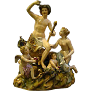 Meissen porcelain figurine grouping of Bacchus nymph satyr putti