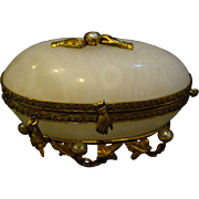 Brass and alabaster ornate dresser box with hand motif