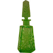 Czech green intaglio cut floral perfume bottle