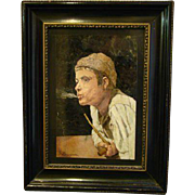 Italian pietra dura plaque boy smoking signed G Zaccagnini