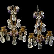 Italian pair of rock crystal wall sconces