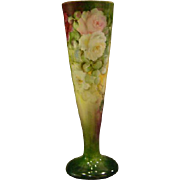 Austrian tall  hand painted roses porcelain vase