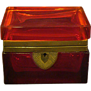 Antique ruby glass jewelry box casket BEAUTIFUL