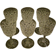 Cut glass set of six wine or sherry goblets
