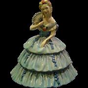 Goldscheiderer southern belle large figurine woman in blue dress