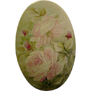 Oval hand painted roses porcelain plaque